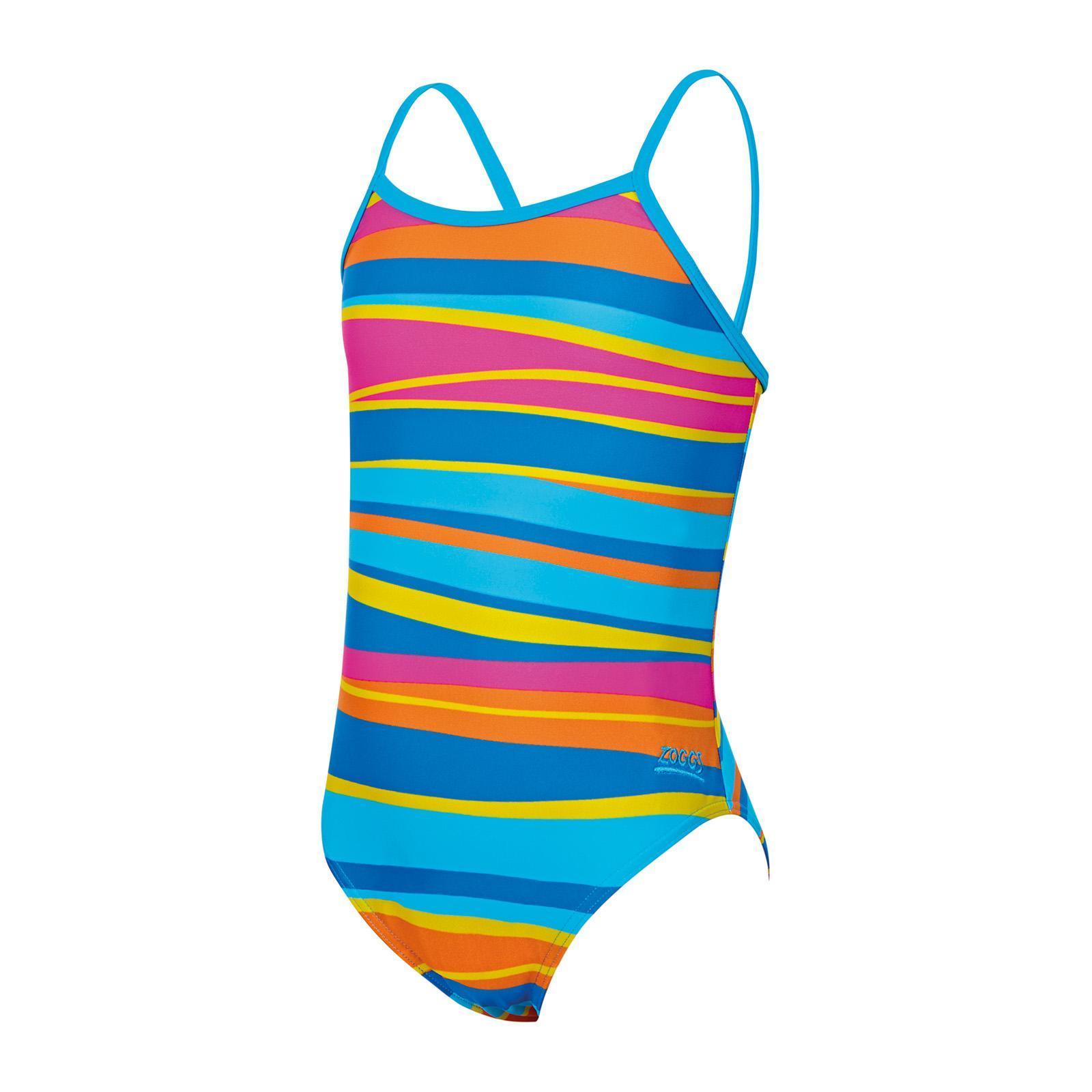 ZOGGS Girls Folk Tale Flyback Swimsuit Pink//Multi
