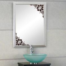 Showcase Glass Window Bathroom Mirror Wall 2 Corner Sticker Home Decal (Brown)