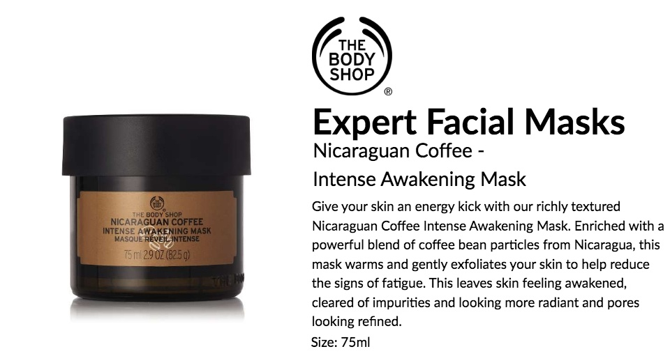The Body Shop Nicaraguan Coffee Intense Awakening Mask 75ml Lazada Singapore