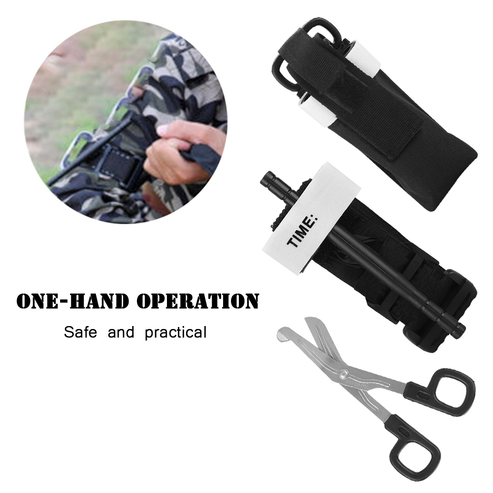 Emergency Tourniquet Combat Application First Aid Handed Free Black Shear Bag