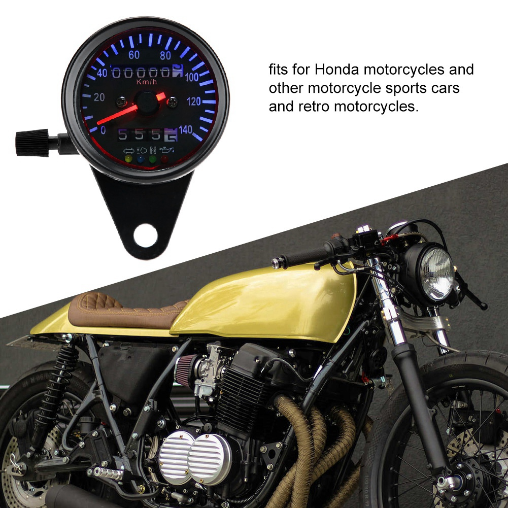 LED Backlight 12 V Motorcycle Dual Odometer Speedometer Gauge Kit Cafe Racer