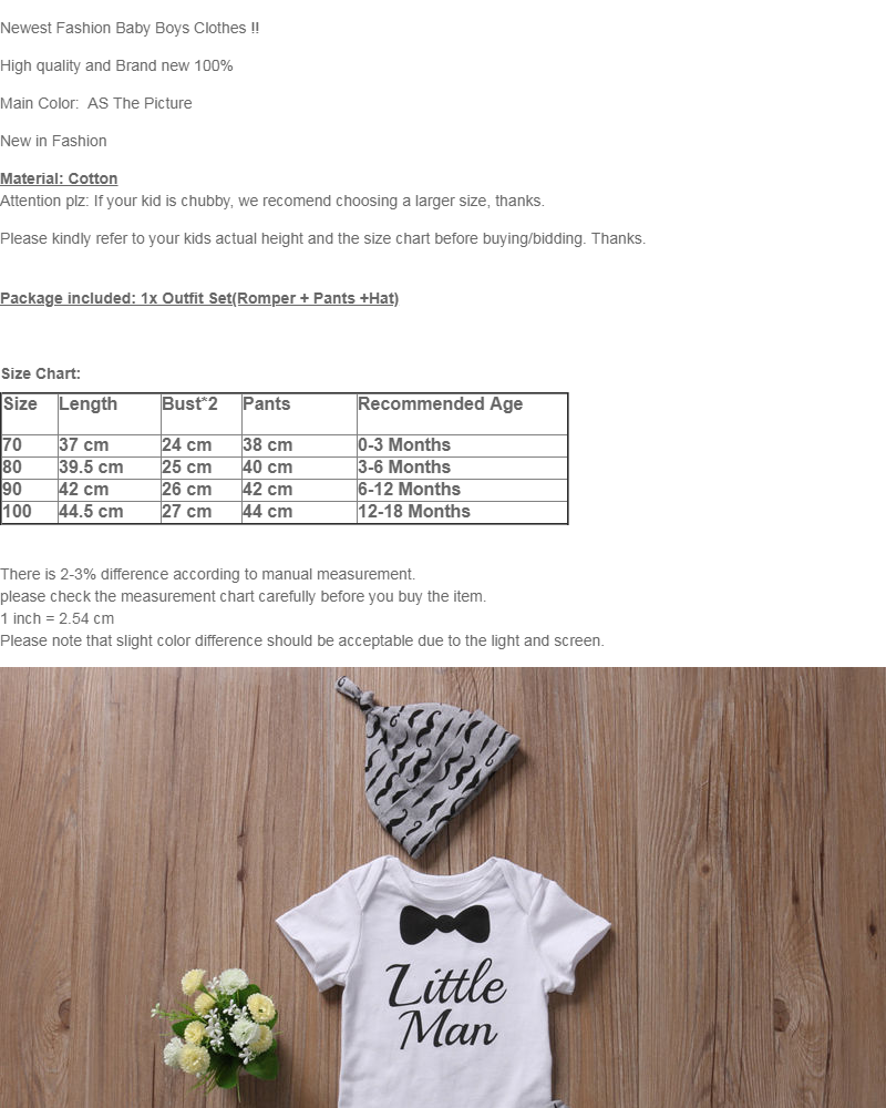 8a9ed1f98 Product details of Newborn Baby Boy Infant Short Sleeve Romper + Long Pants  +Hat Outfit Set Clothes - intl