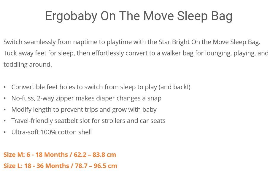 Ergobaby On The Move Sleep Bag (18-36 L) TOG 1.0 (Elephant)