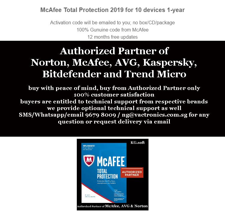 10-device 1-year : McAfee Total Protection 2019 for 10-device 1-year -  activation code ( antivirus )