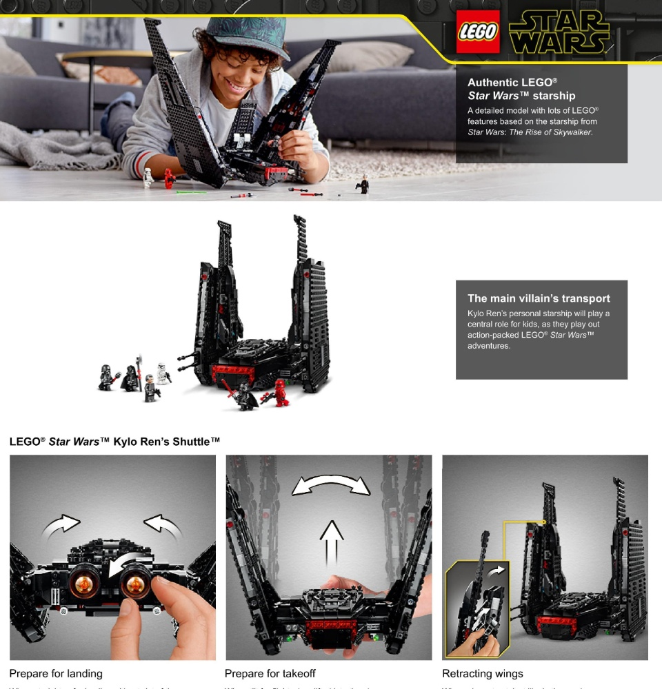 Lego Star Wars The Rise Of Skywalker Kylo Ren S Shuttle 75256 Star Wars Shuttle Action Figure Building Kit 1 005 Pieces Lazada Singapore