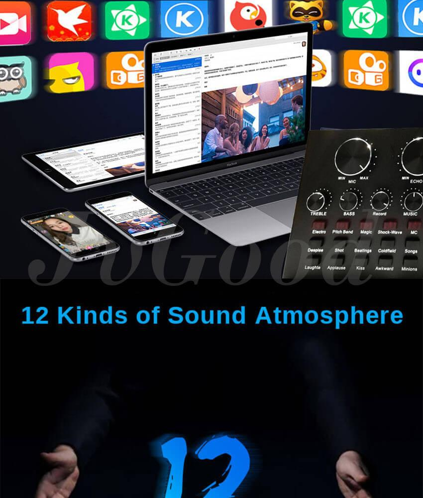 JvGood Audio Mixer Karaoke Sound Mixer Compact Mixer Live Streaming Audio  Interface with 12 Electric Sounds 12 Sound Effects 3 Tones