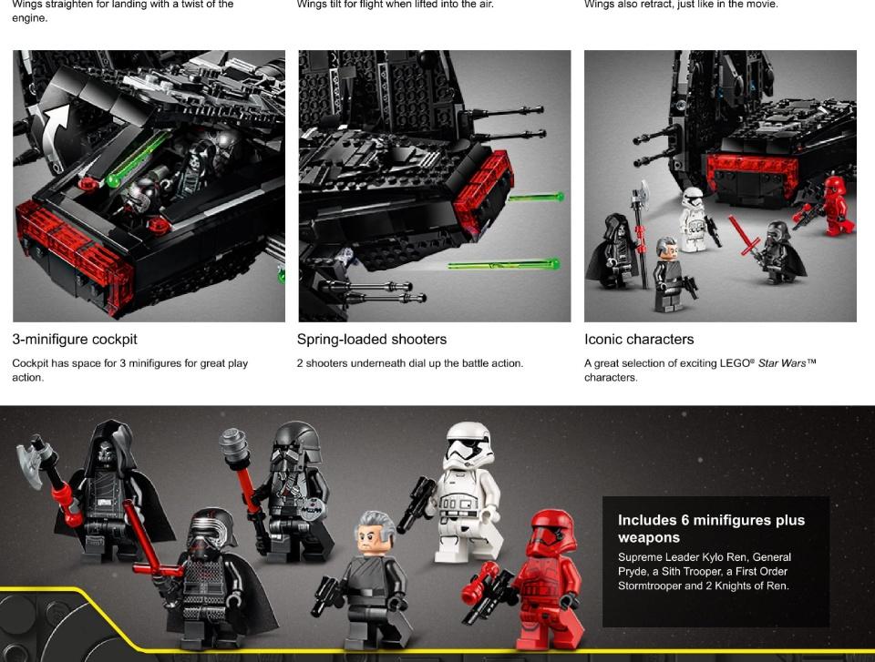 Lego Star Wars The Rise Of Skywalker Kylo Ren S Shuttle 75256 Star Wars Shuttle Action Figure Building Kit 1 005 Pieces Lazada Singapore