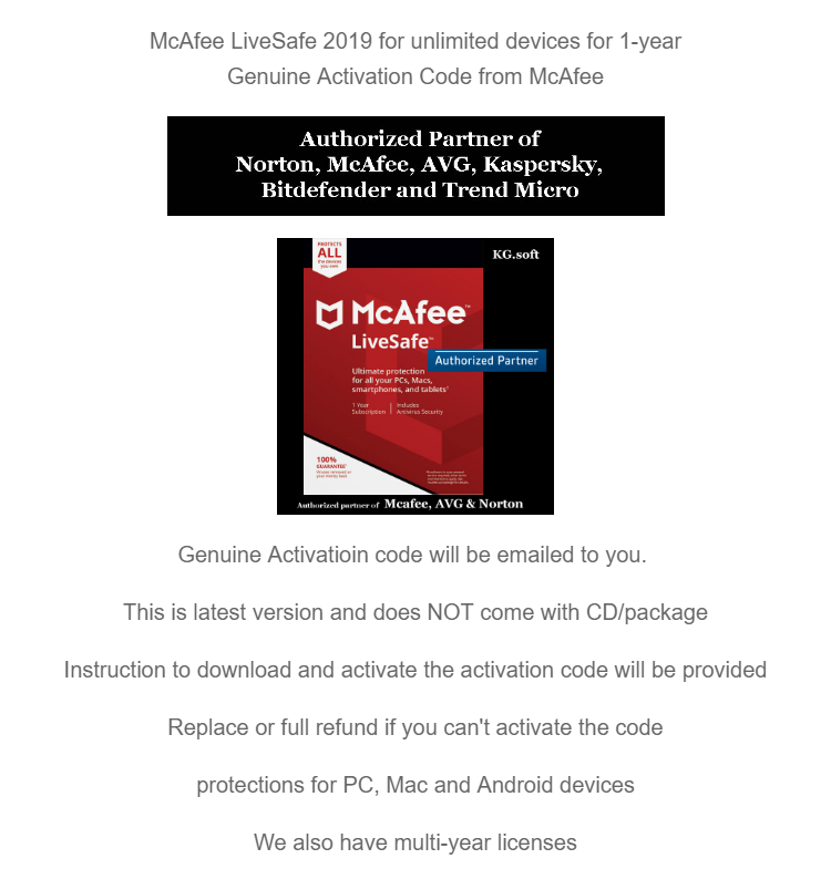 [Unlimited devices 1-year] McAfee LiveSafe 2019 for unlimited devices for 1  year (Award-Winning Antivirus Protection, Safe Web Browsing, Document