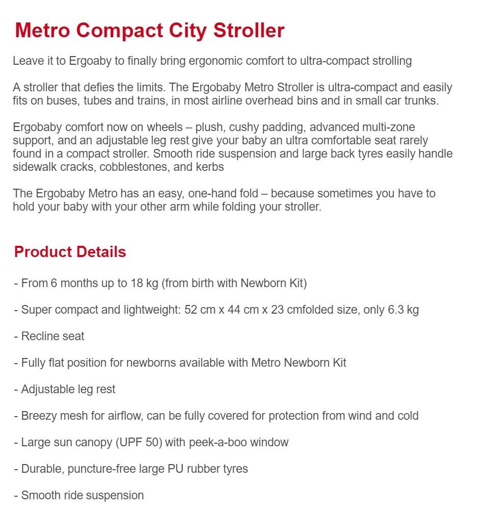 Ergobaby Metro Compact City Stroller (Blue)