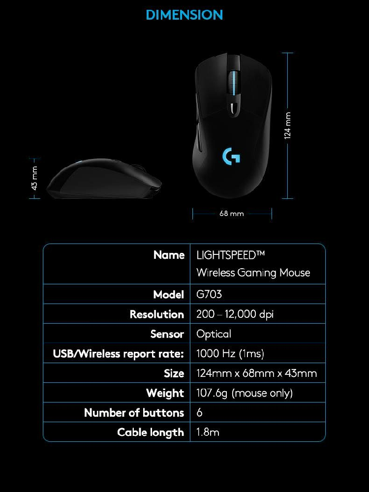 11fa972bd33 Specifications of Logitech G703 LIGHTSPEED Gaming Mouse with POWERPLAY  Wireless Charging Compatibility