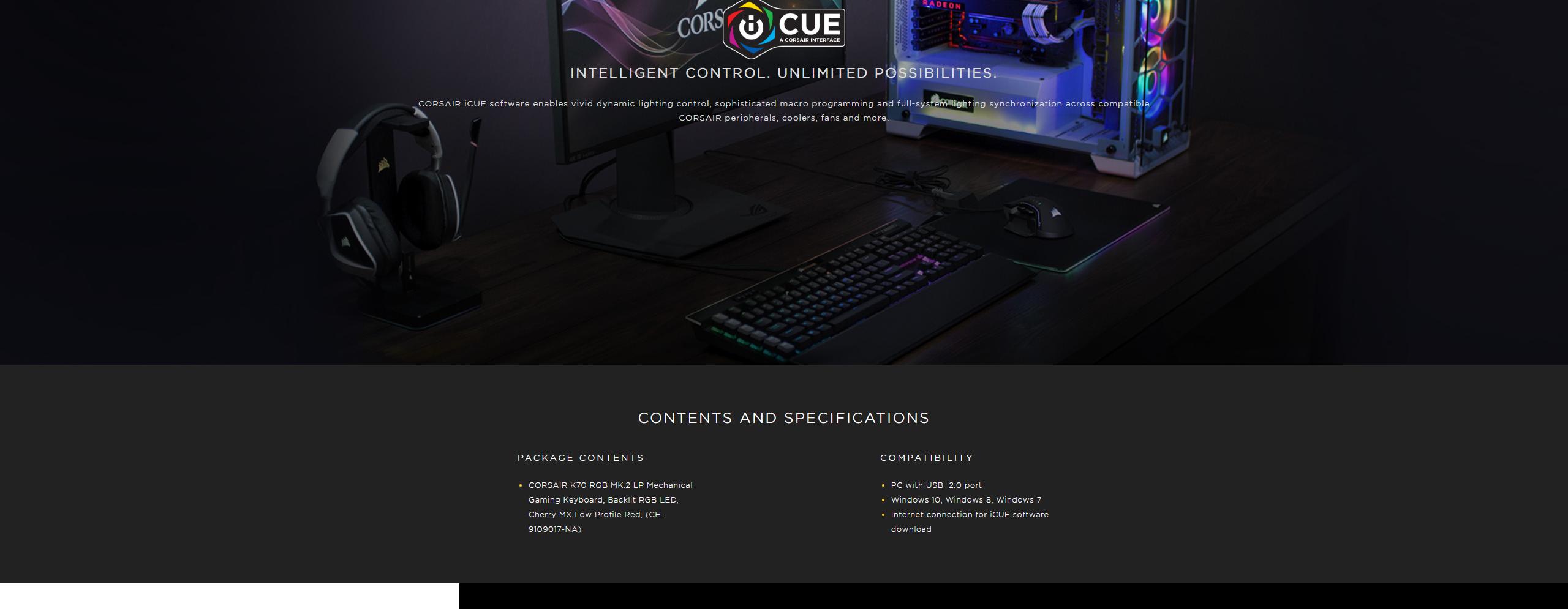 CORSAIR K70 RGB MK 2 Low Profile Mechanical Gaming Keyboard - Cherry MX Low  Profile Red RGB