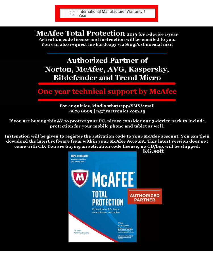 [1-device 1-year] McAfee Total Protection 2019 for 1 device 1 year  (Award-Winning Antivirus Protection, Safe Web Browsing, Document Shredder,  Wi-FI