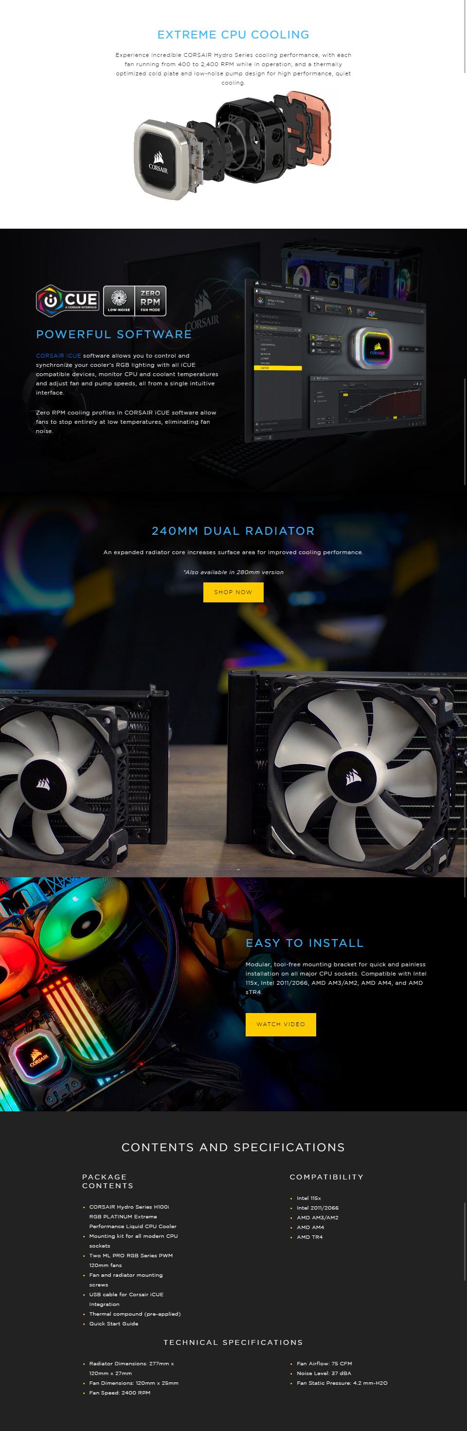 CORSAIR Hydro Series H100i RGB PLATINUM Extreme Performance 240mm Liquid  CPU Cooler
