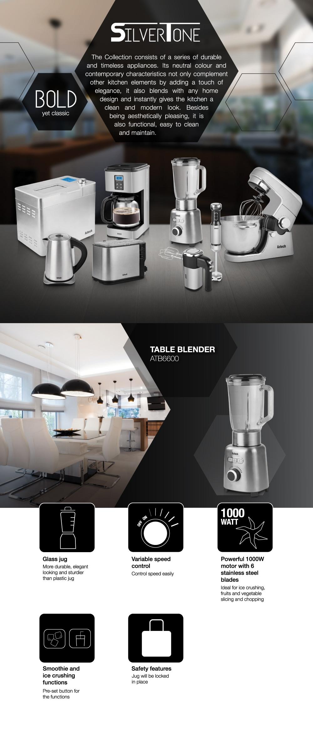 Aztech 1000W Silvertone Table Blender w Glass Jar ATB6600 (1yr warranty)