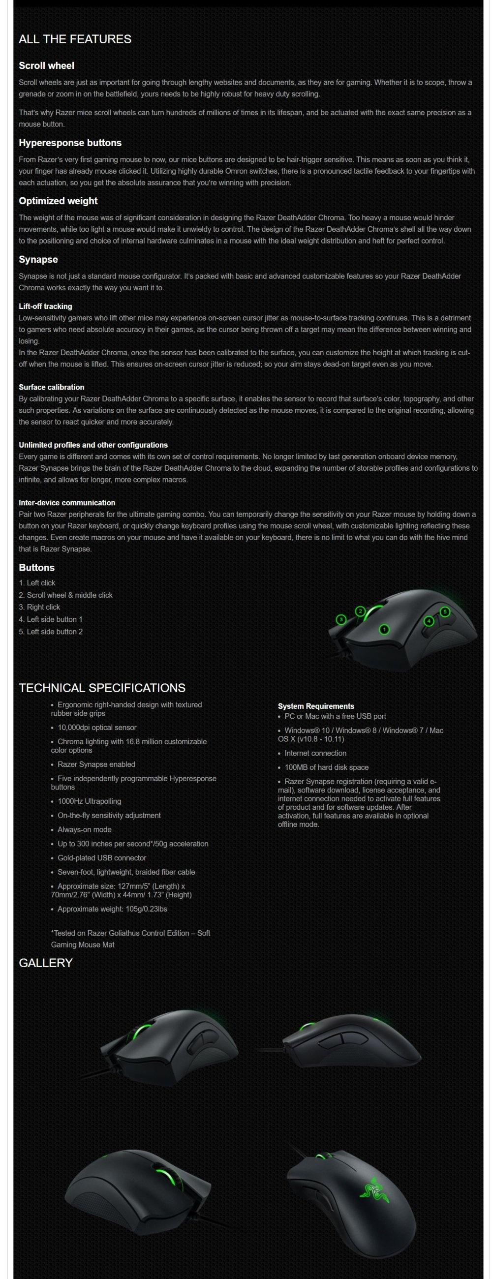 Hot Sell Razer DeathAdder Chroma Multi-Color Ergonomic Gaming MouseRazer  DeathAdder Chroma Multi-Color Ergonomic Gaming Mouse - intl Singapore