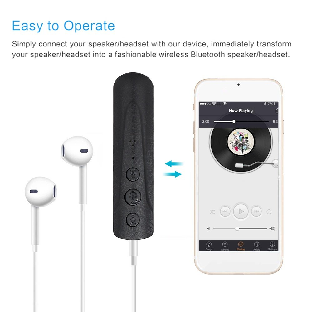Bluetooth Receiver Audio Car Kit with Hands Free Mic Calling Home Car System